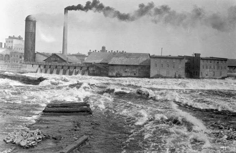 Undated photo of Chaudière Falls with the Booth buildings seen on the right.